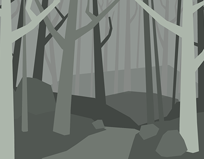 Forest Illustration in German Expressionist Style