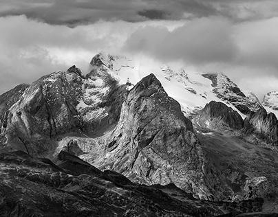 Black&white. Dolomites mountains.