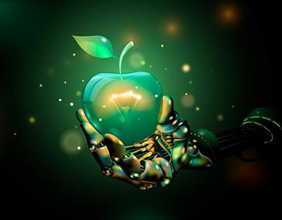 vector abstraction. cyborg, apple, earth