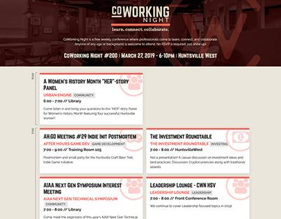 CoWorking Night Schedule