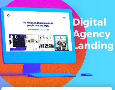 Clean Digital Agency Landing with free Adobe XD file