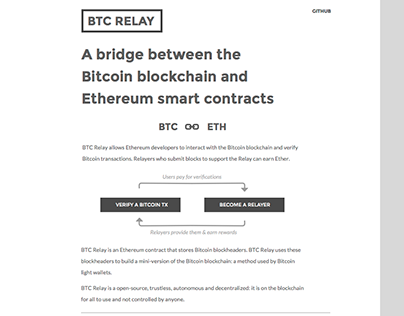 BTC Relay - Website Landing Page Design & Dev