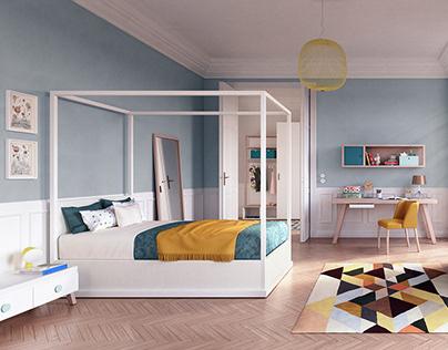 Haussmannian Apartment - Juliette's bedroom