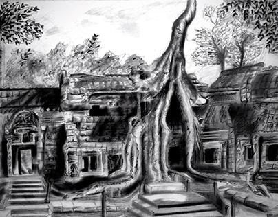 Angkor wat temple ruins - Charcoal sketch