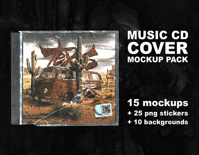 Music CD Cover MOCKUP PACK + Stickers and Textures