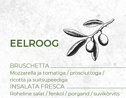 Menu designs for Umberto's restaurant