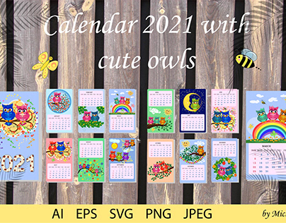 Calendar for 2021 with cute owls
