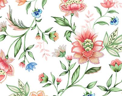 Floral developed to Kukukachu Print Studio