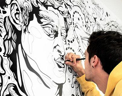 Wall decoration design for the private studio,