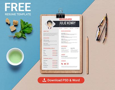 Free Professional Resume/CV template - Photoshop & Word