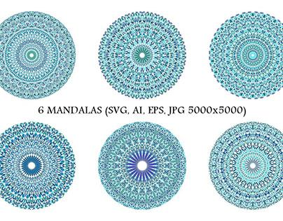6 Floral Mandalas