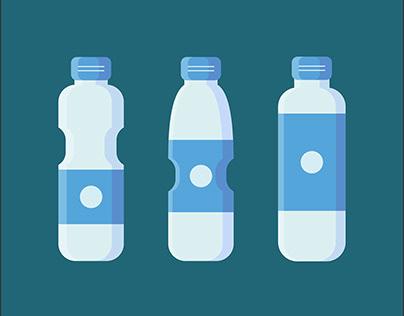 Set of Plastic Bottle Flat Design Illustration