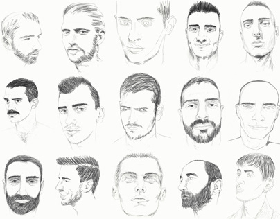 Examples of sketches of male faces