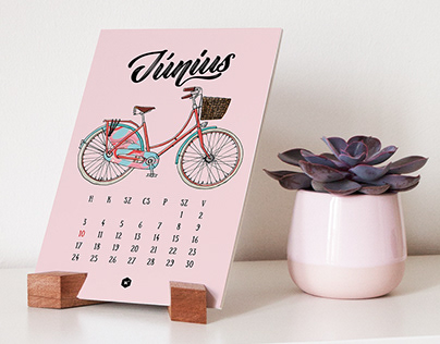 Hand illustrated bicycle calendar