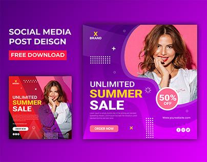 Summer Sale social Media Banner Design