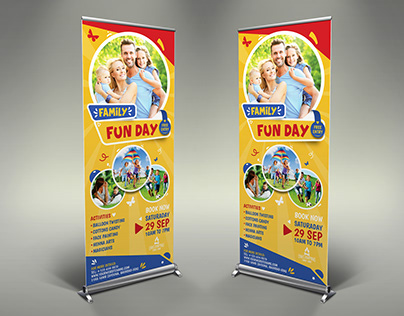 Family Fun Day Signage Banner Roll Up Template