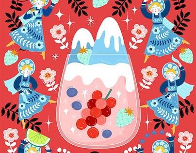 Russian Berries Mule Cocktail Illustrations
