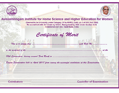 Certificate of Merit for Convocation