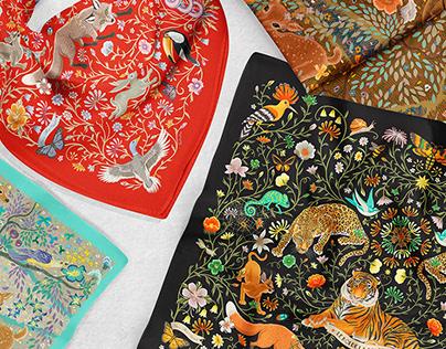 'Dans la Forêt Enchantée' Silk Scarf Collection