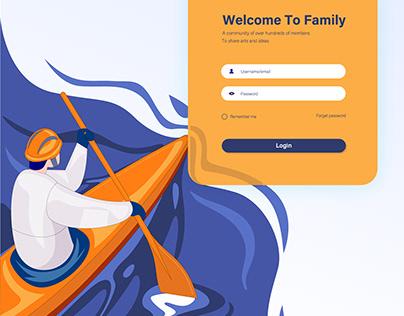 Login webpage design with illustration