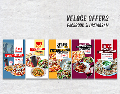 Veloce Italian Kitchen Facebook and Instagram Promos