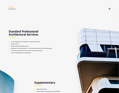 RNB Architects Landing Page Concept