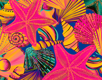Seashells and Starfishes patterns set | Textile design