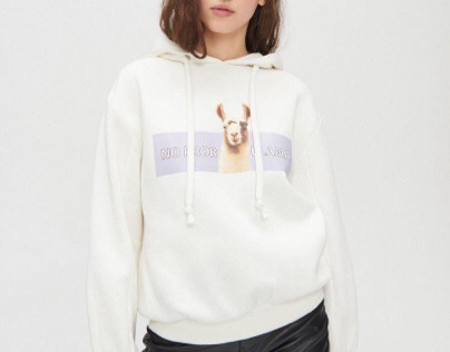 Hoodie with Lama print for Cropp