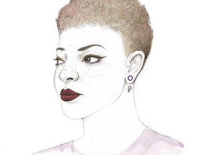 Feminist Girl Power Beauty Portrait Illustration