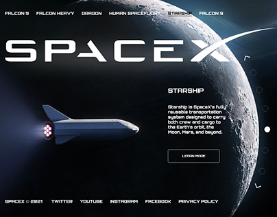 SpaceX new website design concept