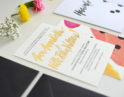 Wedding Invitation Suite with Hand Lettered Details