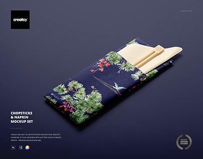 Chopsticks & Napkin Mockup Set