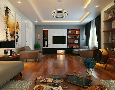 Living Room design for Private Villa In Cairo