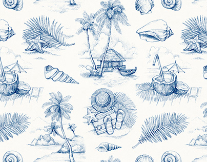Hand drawn pattern design for vacation clothes