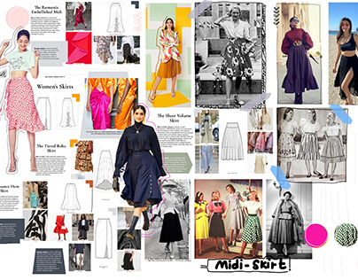 Midi Skirts over the years- visual timeline