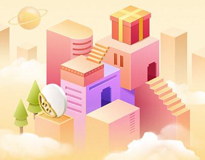 H5-Good Design Apps -豌豆荚年度设计奖 - Gold Award C4D Style