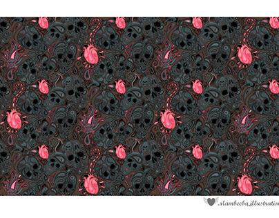 Paisley skulls, fabric pattern, 2021