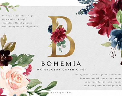 Watercolor Floral Graphic Set-Bohemia