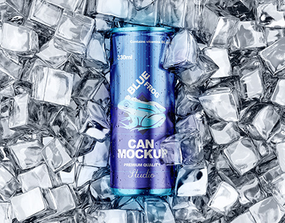 Can with Ice Mockup