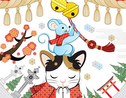2020年・令和2年子年無料イラスト年賀状デザイン「鼠と猫とで初詣」謹賀新年&販売デザインサンプル