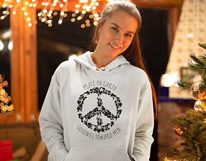 T-shirt Design: Peace on Earth Holly Peace Sign Design