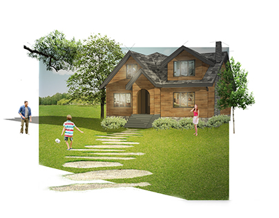 Residential Lake House Illustrations