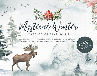 Mystical Winter - Watercolor Graphic Set