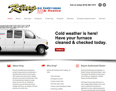 King Air Conditioning & Heating website