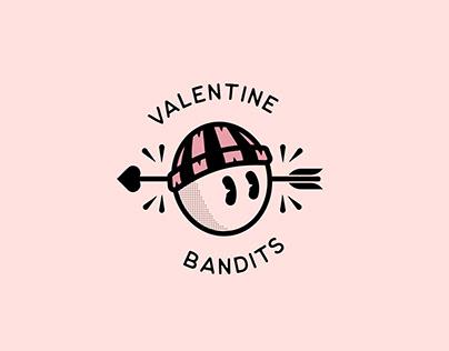 VALENTINE BANDITS: minor league hockey team logo set.
