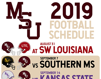 Vintage Mississippi State Football Schedule Graphics