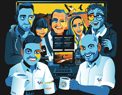 Illustration of the MotoGP Commentary Team 2019