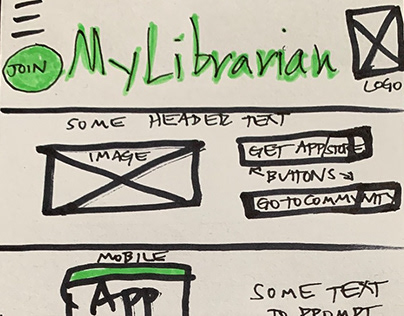 LoFi Prototype of the MyLibrairan BookClub Landing Page