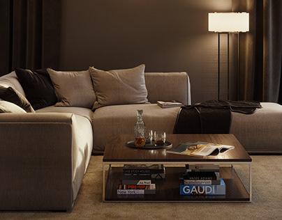 Residential development. Living room interior.