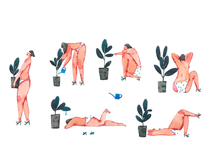 Ficus routine. Animated watercolor illustration